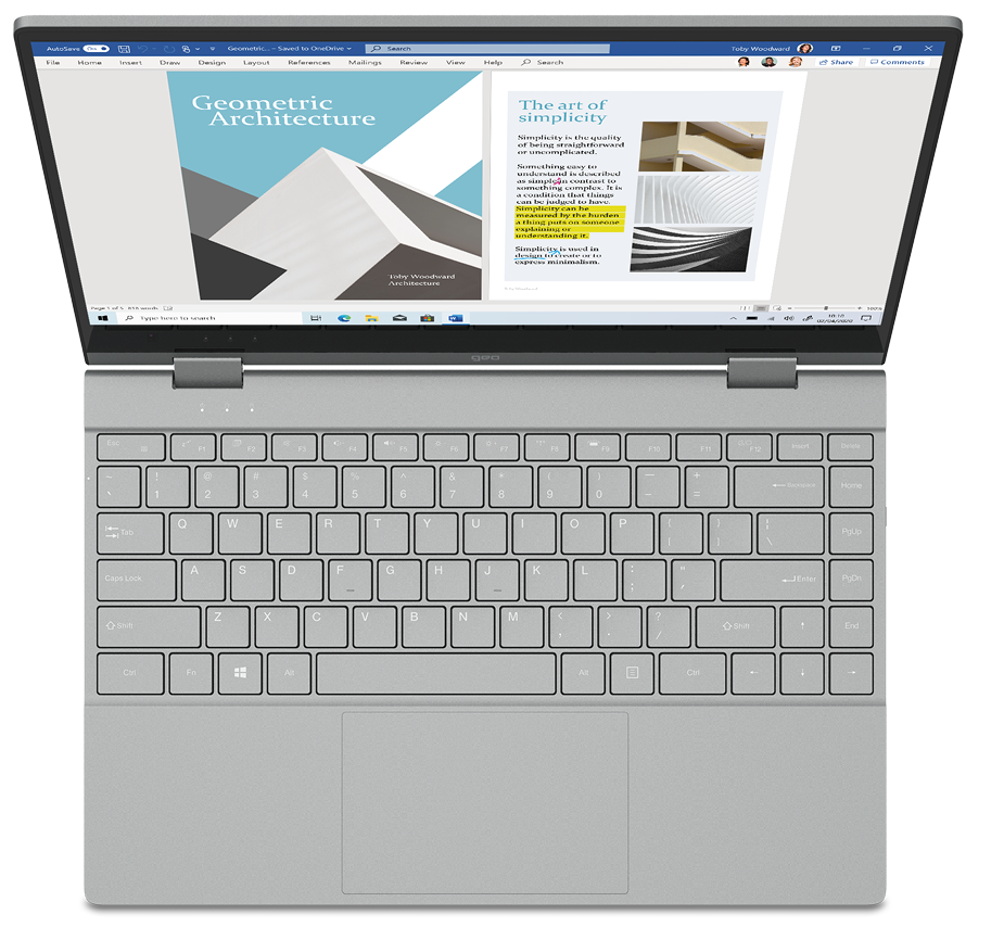 GeoFlex 340 laptop with full-width keyboard