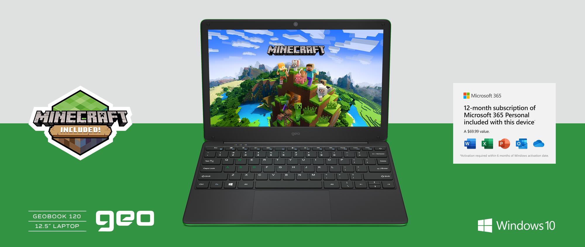 """GeoBook 120 12.5"""" Minecraft Edition Laptop"""