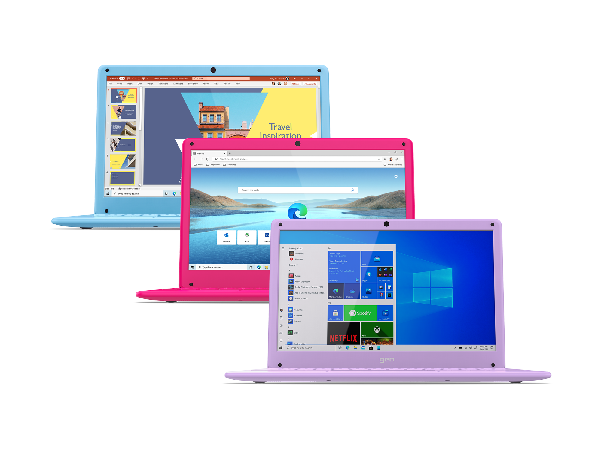 GeoBook 120 12.5-inch Laptop in Hot Pink, Cool Blue and Arctic Purple
